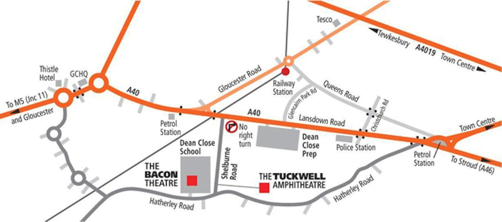 Map of Bacon Theatre and Tuckwell Amphitheatre